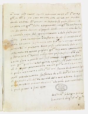 Secret Archives Vatican: Autograph letter of Lucrezia Borgia to Pope Alexander VI, 1494