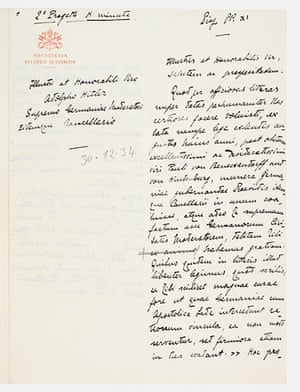 Secret Archives Vatican: Letter of Pius XI to Hitler, 1934