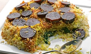 Beetroot and saffron rice