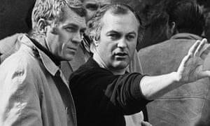 Peter Yates, centre, and Steve McQueen filing Bullitt in 1968.