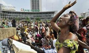 Christian women pray for peace in Abidjan, Ivory Coast
