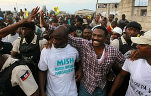 Haiti one year on: January 10, 2011: Presidential candidate Jude Celestin with supporters