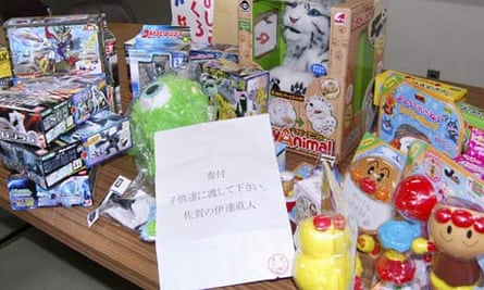 Toys donated under the name of manga cartoon character Naoto Date