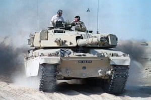Gulf War: January 8, 1991: John Major rides on a tank while visiting the Gulf