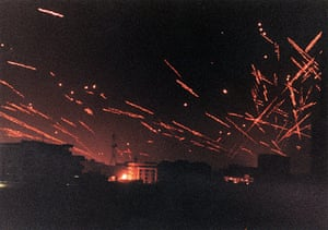 Gulf War: January 17, 1991: Anti-aircraft tracer lights up downtown Baghdad