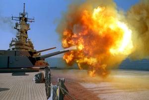 Gulf War: 1991: The battleship USS Wisconsin (BB 64) fires a round