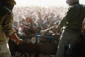 Gulf War: c September 1990: Refugees beg for food on the border of Jordan and Iraq