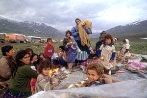 Gulf War: 17 Apr 1991: A mass exodus of Kurdish refugees travelling to Iran