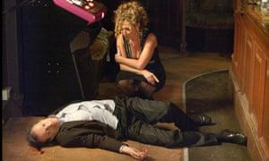 Oberman as Chrissie Watts muders her husband Den in EastEnders.