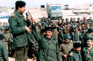 Gulf War: April 1990: President of Iraq Saddam Hussein addresses his troops