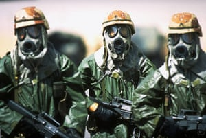Gulf War: April 18, 1991: US soldiers in gas masks during Operation Desert Shield