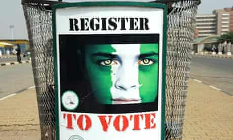 A poster reading 'Register to vote' is d