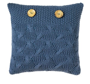 Homes: Knit wit: Knit wit: Blue cushion