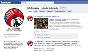 Facebook page for the US embassy in Jakarta