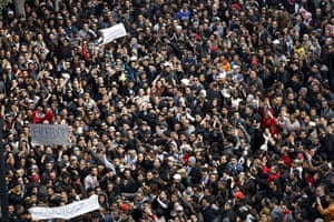 protests in tunisia: demonstration in Tunis