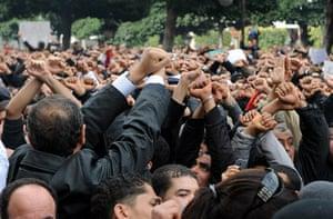 protests in tunisia: Tunisian demonstrators