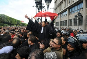 protests in tunisia: Tunisian demonstrators and lawyers