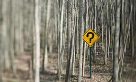 Yellow caution sign with question mark in forest