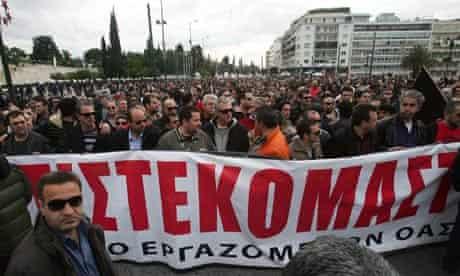 Greek public transport workers protest