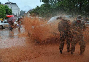 Brazil aftermath: Flooded street after the heavy rains in Nova Friburgo