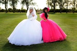 Big Fat Gypsy Weddings: Bride Bridget and bridesmaid in Trowbridge, Wiltshire