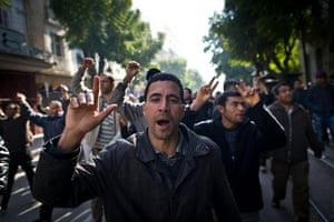 protests in tunisia: People demonstrate during a protest in central Tunis