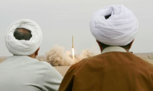 Iranian clerics watch the firing of Shahab 3 missile