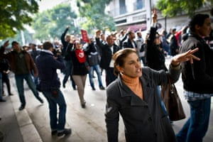 Tunis protest: Tunisians shout slogans during a demonstration