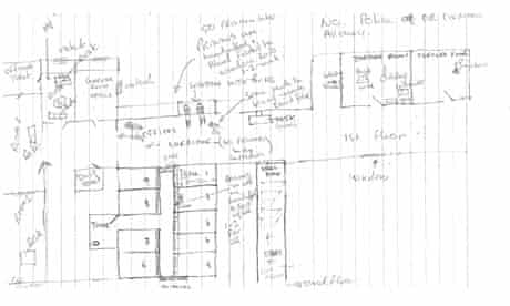 Hand-drawn plan of the Task Force for Interrogation Cell
