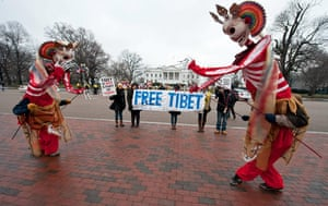 Hu Jintao in Washington: Tibetan supporters protest against the visit of Chinese President Hu Jintao