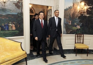 Hu Jintao in Washington: Hu Jintao arrives at White House for a private banquet held by Barack Obama