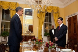 Hu Jintao in Washington: Barack Obama and Hu Jintao in the Old Family Dining Room of White House