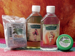 Coca products: Products made by the Bolivian Coincoca factory from coca leaves