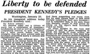 Guardian article from the day after JFK's inauguration 1961