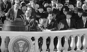 President John F. Kennedy gives his inaugural address in Washington