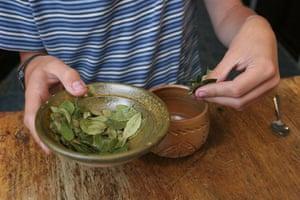 Coca products: Coca leaf tea is prepared in a cafe in La Paz, Bolivia