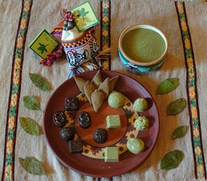 Coca products: Chocolates, cookies and a bowl of flour made with coca leaves