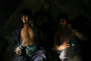 Coca products: Miners chew coca leaves in Oruro, Bolivia