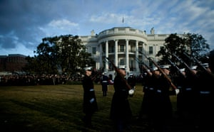 Hu Jintao Washington: United States Marines arrive for a state ceremony at the White House