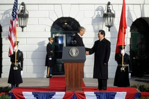 Hu Jintao Washington: Barack Obama welcomes Hu Jintao during a ceremony on the South Lawn
