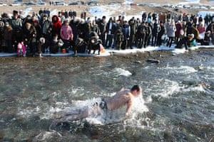 Orthodox epiphany: A believer bathes in the waters of the Kara-Balta river