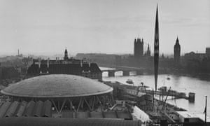 The South Bank during the Festival of Britain, with Skylon on the right