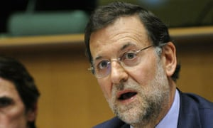 Mariano Rajoy, (R), leader of the Spanis
