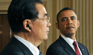 Barack Obama and Hu Jintao at the White House
