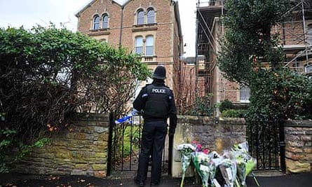 Police outside the entrance to Joanna Yeates's flat