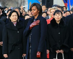 Hu Jintao in Washington: Michelle Obama attends a State arrival ceremony on the South Lawn