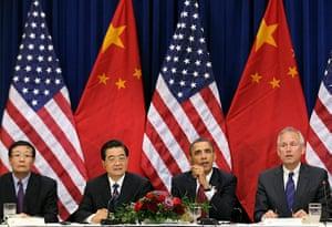 Hu Jintao in Washington: Barack Obama and Hu Jintao at the Eisenhower Executive Office Building