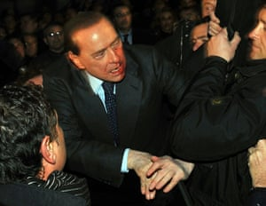 Silvio Berlusconi: December 2009: erlusconi after an attacker hurled a statuette at him
