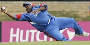 Fat Cricketers: Dwayne Leverock successfully dives to take a catch