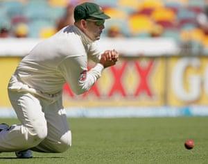 Fat Cricketers: Australian fieldsman Darren Lehmann drops a catch